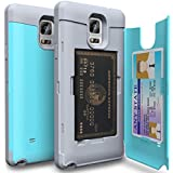 Funda porta tarjetas de crédito Samsung Galaxy Note 4 [TORU CX Pro] Estuche tarjetero práctico original de calidad premium y discreto, carcasa guarda tarjeta de protección rígida antigolpes con espejo para Samsung Galaxy Note 4 - Turquesa