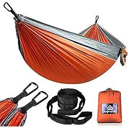NATUREFUN Hamac Ultra-léger de Voyage Camping | 300 kg Capacité de Charge,(275 x 140 cm) Respirante, Nylon à Parachute à séchage Rapide | 2 x Mousquetons de qualités, 2 x Sangles de Nylon Inclus