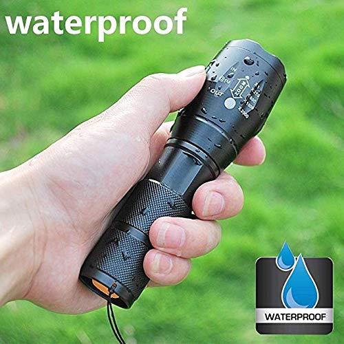 Led Taschenlampe Mit einstellbarem Fokus CREE XM-L T6 ,5 Modis Einstellbar LED Handlampe LED Camping Handlampe,, Wasserdicht Taschenlampen für Outdoor Sports-Schwarz