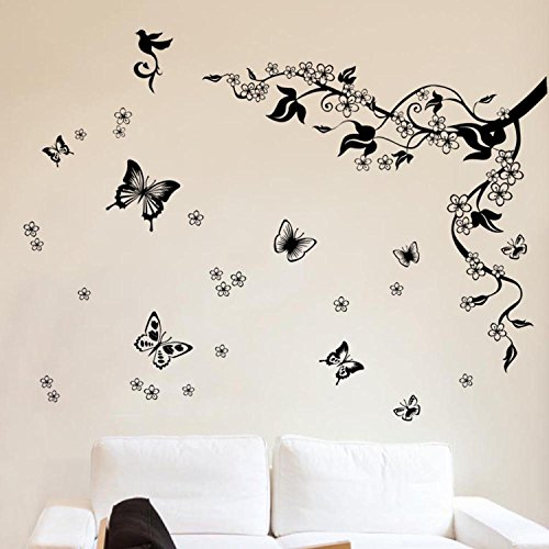 Price comparison product image Walplus Wall Art Sticker,  Dancing Butterflies and Tree Branch Office Home Decoration