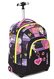TROLLEY FIT - SEVEN - LOVELY - 2in1- Wheeled Backpack with Disappearing Shoulder Straps - Black 35Lt from Seven