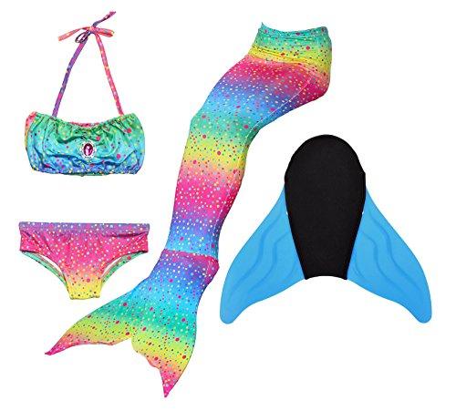 LIKEEP Meerjungfrauenschwanz Ⅱ zum Schwimmen mit Verbesserten Flosse und Schönere Mermaidens Meerjungfrauenschwanz - Mädchentraum (SPLENDID RAINBOW, 140-150, KINDER S)