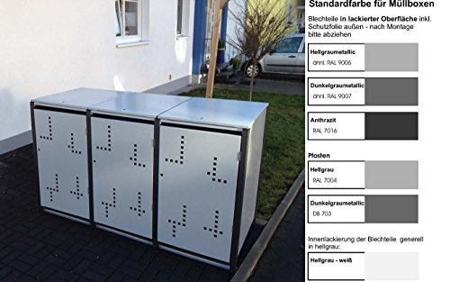 Metall Mülltonnenbox für 3 Tonnen RAL grau / anthrazit, Müllcontainer, Müllbox. Made in Germany. # Größe: Für 3 Tonnen bis 120 l # Farbe: Farbenauswahl per EMail angeben # Dach: Mit Klappdach # Stanzung: Serie