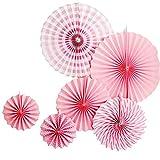 Alxcio 6Pcs Paper Fan Éventail en Papier Rose Fleurs 20, 30 et 40 cm pour Décorations de Fête Mariage Soirée Noël Festival