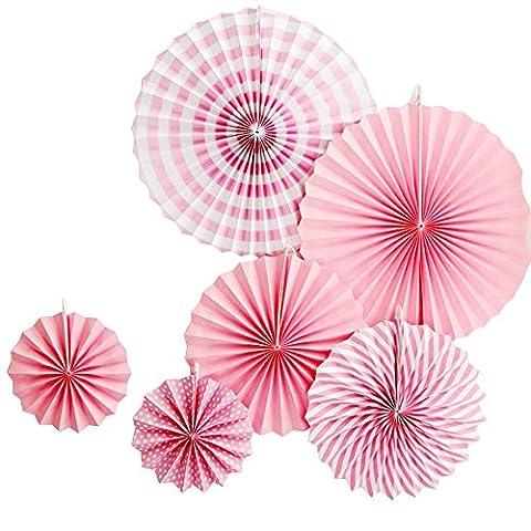 Alxcio 6Pcs Paper Fan Éventail en Papier Rose Fleurs 20,