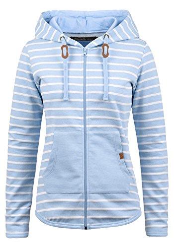 BLEND SHE Clara Damen Sweatjacke Kapuzen-Jacke Zip-Hood aus hochwertiger Baumwollmischung, Größe:S, Farbe:Skyway (20241)