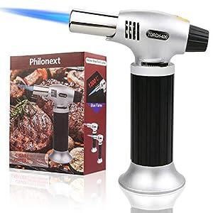 Philonext Küchenbrenne Flambierbrenner Butan Gasbrenner für die Küche Home Küche-Schwarz für Creme Brulee, Gebäck, Desserts, Camping (Butan inbegriffen Nicht) - (Silver)
