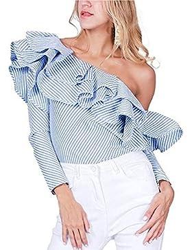 MODETREND Mujer Camisa Camisetas Verano Raya Sin Tirantes con Volantes Blusa Tops T-shirt