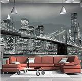 Rureng Fototapete New York Bridge Hängebrücke Architektur Night View Tv Hintergrund Wandbild Wohnzimmer Benutzerdefinierte Tapete-280X200Cm