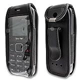 caseroxx Handy-Tasche Ledertasche mit Gürtelclip für Bea-fon C30 aus Echtleder, Handyhülle für Gürtel (mit Sichtfenster aus schmutzabweisender Klarsichtfolie in schwarz)