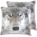 Timber Wolf Nahaufnahme Kissenbezug, Standardgröße, 2er-Set, Baumwolle/Leinen, 40,6 x 40,6 cm, Kissenschutz für Couch Sofa, Bett, Heimdekoration, multi, 20x20