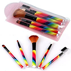 3rb Cosmetic Makeup Brush Set - Rainbow Color (5 Pieces)
