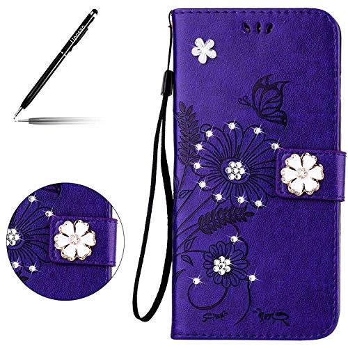Kompatibel mit Handyhülle Huawei P9 Lite Handy Tasche Retro 3D Schmetterling Blumen Glitzer Bling Kristall Strass Diamant Muster Brieftasche Ledertasche Klapphülle Lederhülle,Violet