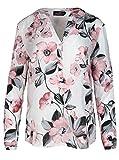 Zwillingsherz Bluse Damen Blumen Sommer Oberteile - Hochwertige Schöne und luftige Tunika/Chiffon Blusen für Frauen - Elegantes Langarm Hemd T-Shirt - Perfektes Oberteil für Jeden Anlass