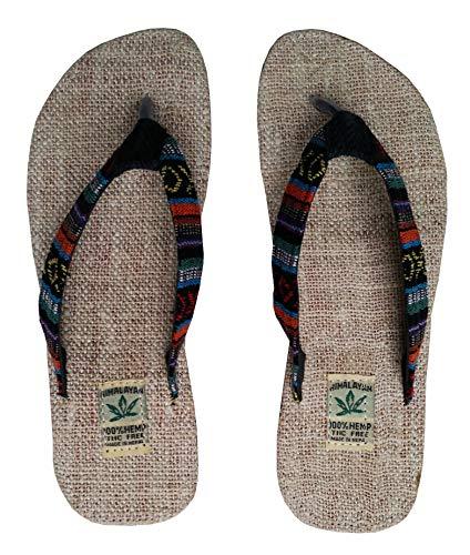 (Handgemachte Flip Flops/Hausschuhe/Sandalen/Zehentrenner mit Fußbett aus natürlichem Hanf - Unisex - Made IN Nepal (37, Solar Eclipse))