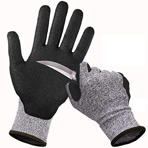 CCBETTER Schnittfest Handschuhe Level 5 Schutz Küche Handschuh Sicherheitshandschuhe Arbeitshandschuhe für Schneiden (L, Grau) -