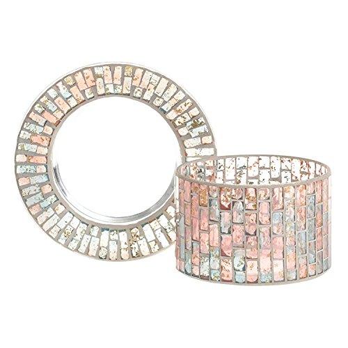 Yankee Candle Romance Schirm und Teller, Glas, Gold/Pastell Blau/rosa, 12 x 12 x 9 cm, 2-Einheiten Teller Gold Trim