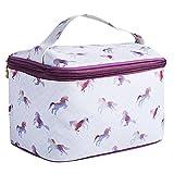 TaylorHe Make-up Bag Impermeabile Beauty Case Borsa Cosmetico Trucco Sacchetto borsa da toilette cerniera con manico cavalli arcobaleno