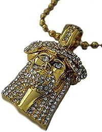 Diamantes Falsos Micro Con Baño De Oro Jesús Pieza y Cadena Esferas