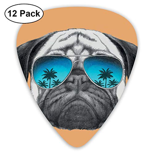 Celluloid Guitar Picks - 12 Pack,Abstract Art Colorful Designs,Dog With Reflecting Aviators Palm Trees Tropical Environment Cool Pet Animal,For Bass Electric & Acoustic Guitars.