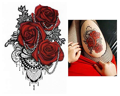 Temporanei tattoos temporary tattoo falso tattoo-rose rosso -