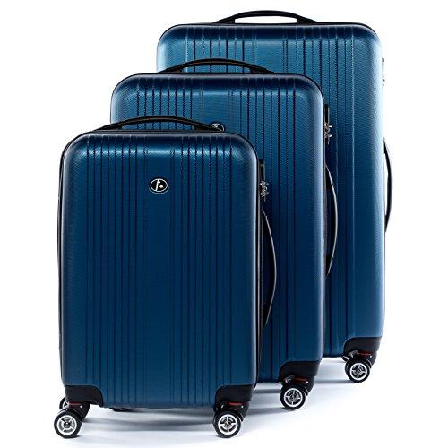 FERGÉ® Kofferset Hartschale 3-teilig Toulouse Reise-Koffer Set erweiterbar 3er Hartschalenkoffer Trolley Set (M L XL) 4 Zwillings-Rollen (360°) Hartschale blau
