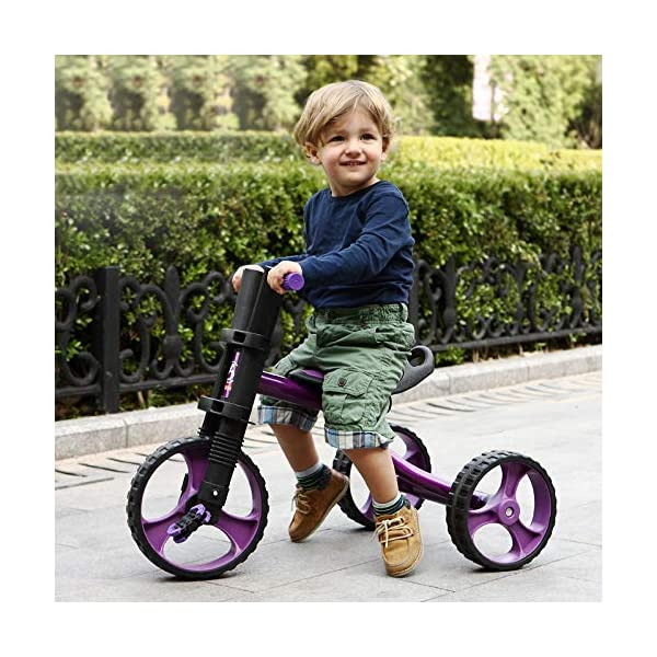 Childrens Tricycles 2 To 5 Years Easy Installation Kids' Trikes Anti-slip Pedals The Seat Can Be Adjusted Back Kids Tricycle Maximum Weight 25 Kg,Purple BGHKFF ★Material: Steel frame + TPR plastic, suitable for children aged 2-5, maximum weight 25 kg ★ Size: 57.5*25.5*38 cm/22.6*10*15inchs ★Cushion: sponge-filled, artificial PU leather, shock absorption, protect your baby's butt, soft and comfortable, dry and breathable, environmentally friendly 1