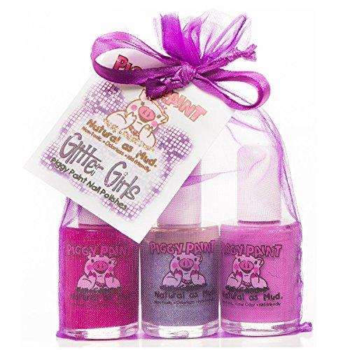 Piggy Farbe, Nagellacke, Glitter Mädchen Geschenk Set, 3Flaschen, 0,5Fl Oz (15ml) jeder