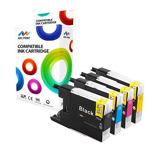 Preisvergleich Produktbild NPC Print 4 XL PREMIUM Druckerpatronen kompatibel für Brother LC1240BK LC1240C LC1240M LC1240Y für Brother DCP-J525W, DCP-J725DW, DCP-J925DW, MFC-J430W, MFC-J5910DW, MFC-J625DW, MFC-J6510DW, MFC-J6710DW, MFC-J6910DW, MFC-J825DW (Schwarz Cyan Magenta Gelb)