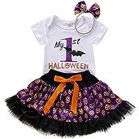 Sallydream- Invierno Fiesta Niños Baby Girls Halloween Letter Romper Faldas con Estampado de Calabaza Hairband Outfits