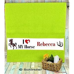"""bedruckte Frottiere Handtücher oder Dusch/Badetücher – Motiv""""Pferdefreunde"""" mit Ihrem Wunschnamen in 13 Farben zur Auswahl und 2 Größen"""