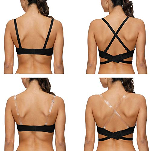 Vogue's Secret Damen Tiefer V-Multiway Push Up Tauch-BH Convertible Criss Cross Low Back - Schwarz - 70A - 3