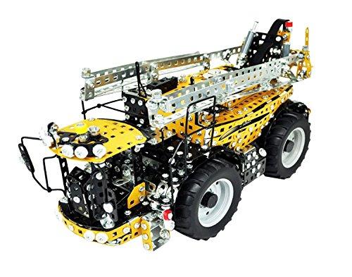 Tronico 10078 - Metallbaukasten Selbstfahr Feldspritze Challenger RoGator 645B, Maßstab 1:16, Profi Serie, gelb, 1577 Teile mit 4 Rad Lenkung