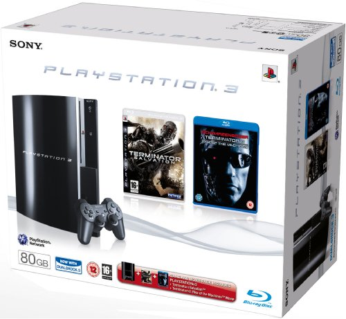 PlayStation 3 - Konsole 80 GB inkl. Terminator: Salvation (PS3) + Terminator 3: Rise of the Machines [UK Import] - Konsole 80 Ps3