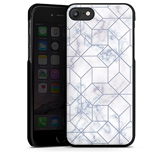 Apple iPhone X Silikon Hülle Case Schutzhülle Marble Weiss Muster Hard Case schwarz