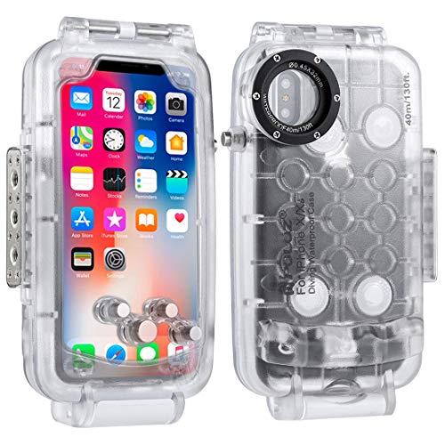 PULUZ - Funda Impermeable para iPhone X 40 m Resistente a los Golpes, a Prueba de Nieve, Resistente al Agua, IP68, Resistente al Agua