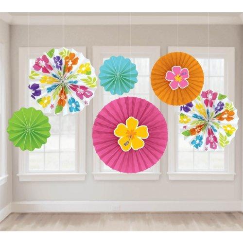 amscan Hawaiianischer Hibiskus Papier Fan Dekorationen - Hibiskus-blumen Papier