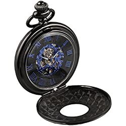Alienwork Retro mechanical Pocket Watch Skeleton Hand-wind engraved Metal blue black W891B-01