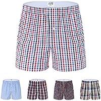 Qissy®5er pack Gli uomini della banda 100% boxer di cotone tessuto per lo più a (Bottoni Cotone Slip)