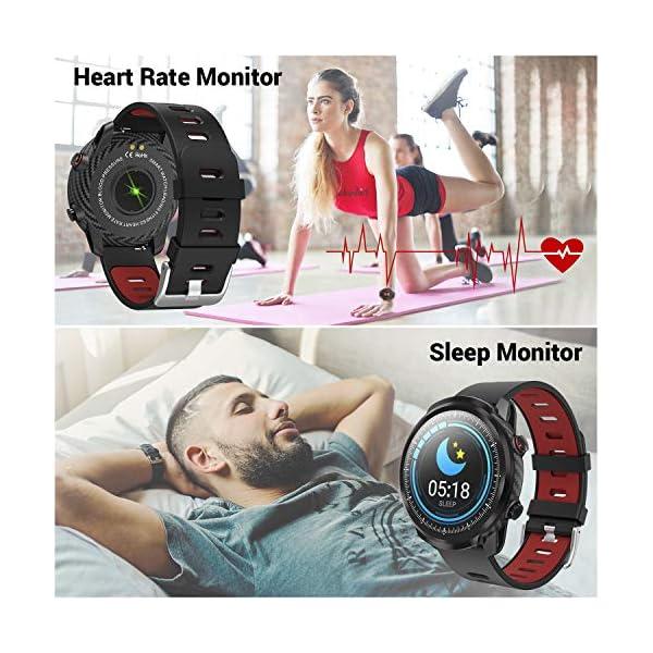 CatShin Smart Watch Tracker de Actividad, Pantalla táctil smartwatch Fitness Tracker, Reloj Deportivo Bluetooth IP67 a Prueba de Agua con Monitor de frecuencia cardíaca, Compatible con Android iOS 4