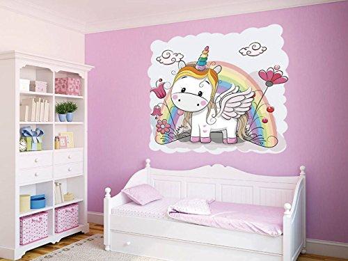 Vinilo decorativo pared Infantil | Unicornio Arcoiris | Varias Medidas 100x100cm | Adhesivo Resistente y de Facil Aplicación | Multicolor | Pegatina Adhesiva Decorativa de Diseño Elegante