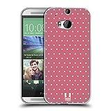 Head Case Designs Pink Punkte Französische Land Muster Soft Gel Hülle für HTC One M8 / M8 Dual SIM