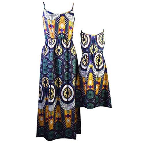 NightMM Mode Mutter und Tochter Kostüm sexy Strap Kleid Promi Stil geometrischen Druck Größe Polyester gedruckt Kleid Familie passenden Eltern-Kind-Mädchen-Modelle - Alphabet Kostüme Ideen