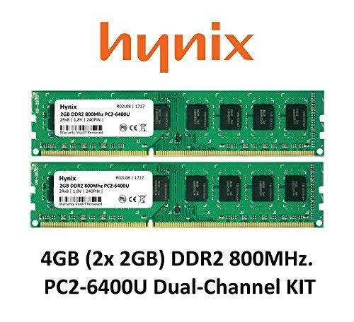Hynix 4GB Dual-Channel KIT (2x 2GB) DDR2 800Mhz PC2-6400 (240 pin) PC Arbeitsspeicher RAM Memory 3rd DIMM -