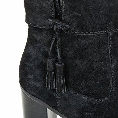 ALESYA by Scarpe&Scarpe - Stivaletti alti con nappine e fondo carrarmato, in Camoscio, con Tacco 10 cm Nero