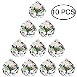 30mm Prisme de Boule de Cristal Clair - 10Pcs Suspension Suncatcher à Facettes pour Lustre de Plafond, Feng Shui, Maison de Mariage, Décorations de Bureau...
