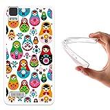 WoowCase Bq Aquaris E4 Hülle, Handyhülle Silikon für [ Bq Aquaris E4 ] Russiche Retropuppe Handytasche Handy Cover Case Schutzhülle Flexible TPU - Transparent