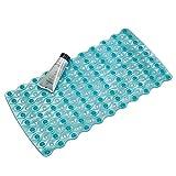 mDesign Weicher Badvorleger mit Saugnäpfen – Rutschfeste Badematte aus robustem und resistentem PVC – Badgarnitur Blau Wellentextur – Für Bad, Badewanne oder Dusche
