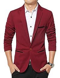 LEOCLOTHO Costume Homme Blazer Slim Fit Un Bouton Décontractée Business  Mariage Veste e0da59b5f63