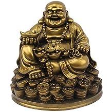 Petrichor Fengshui Riendo Buda Sentado en Suerte Dinero Monedas llevando Lingote de Oro para Buena Suerte y Felicidad